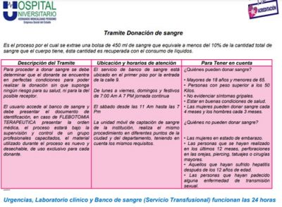 Tramite banco de sangre Hospital Universitario Neiva